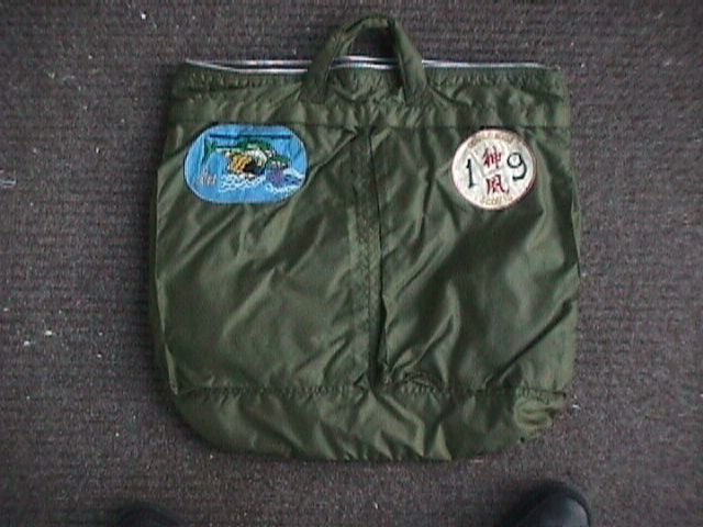 The other side of Larry Brown s helmet bag is adorned with Scout platoon  patches for C troop 7d258ae7a2aaa